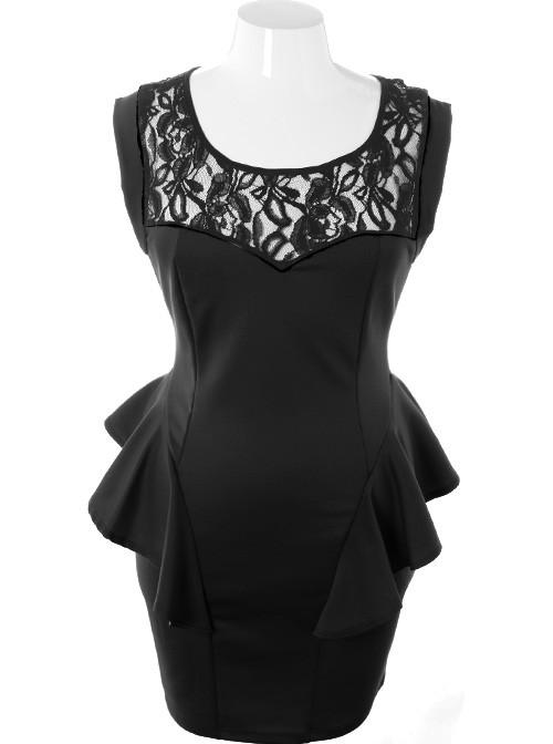 Plus Size Ravishing Trendy Peplum Hip Black Dress