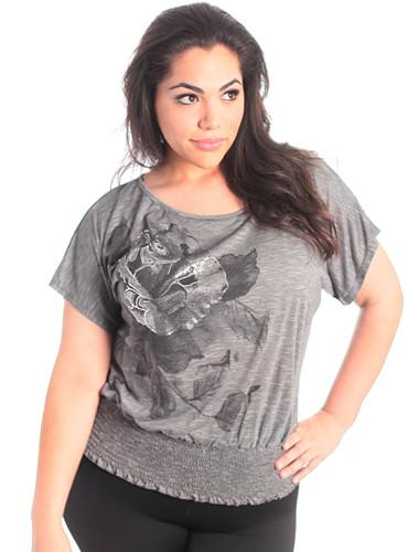 Plus Size Shimmering Grey Rose Top
