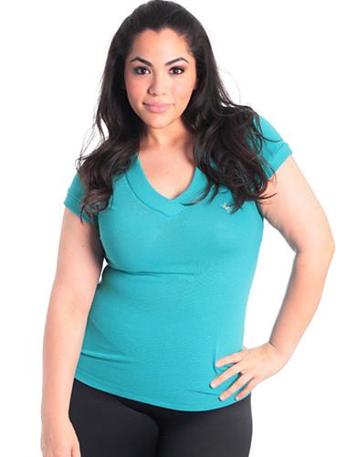 Plus Size V-Neck Moose Logo  Teal Top