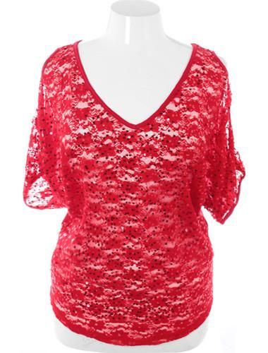 Plus Size Sparkling See Through Red Top