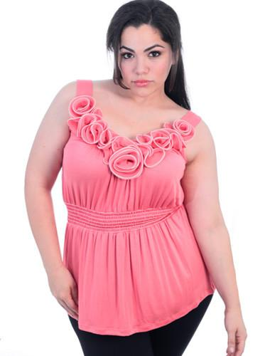 Plus Size Sexy Rose Bud Pink Tank Top