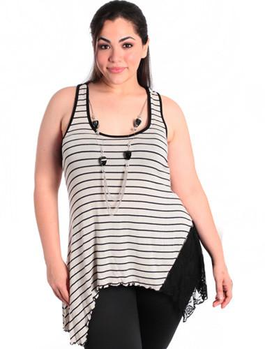 Plus Size Stylish Striped Lace Cream Tank