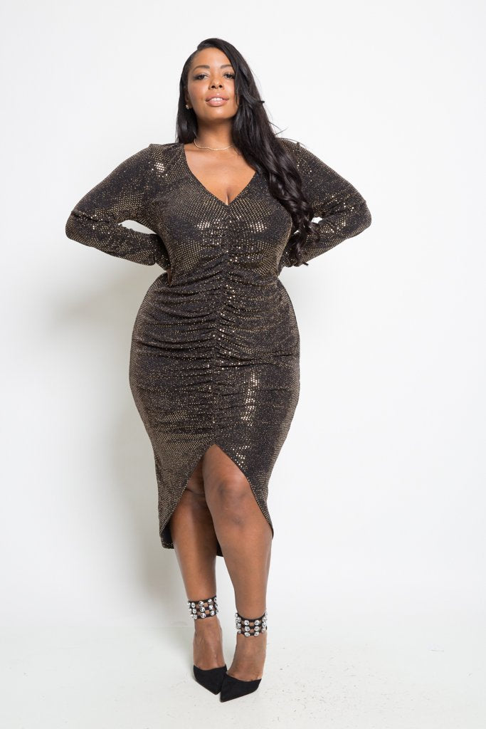 Plus Size Sparkling Ruched Midi Dress – slayboo