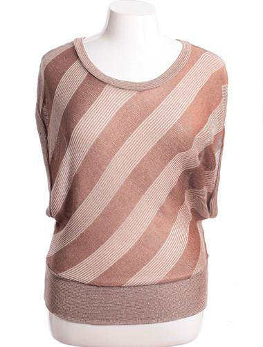 Plus Size Contemporary Striped Tan Blouse