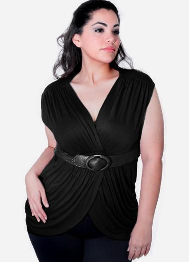 Plus Size Braided Belt  Black Top