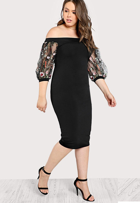 Plus Size Off Shoulder Floral See Through Sleeves Cocktail Dress