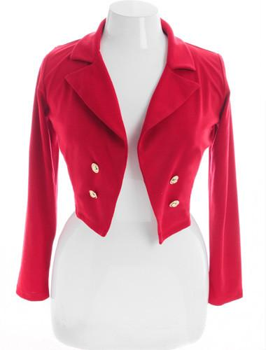 Plus Size Designer Sexy Cropped Red Blazer