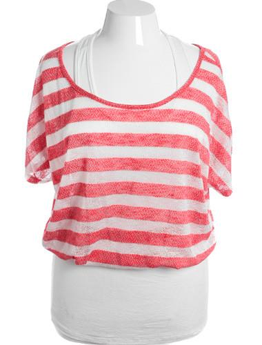 Plus Size Sexy Layered Stripe Bubble Red Top