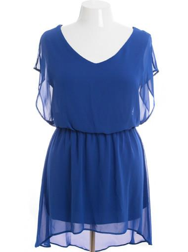 Plus Size Layered Lace Sleeveless Blue Dress