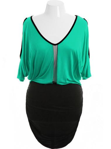 Plus Size Open Shoulder Peep Show Green Dress
