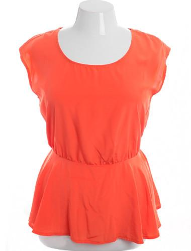 Plus Size Sleeveless Open Lower Back Orange Top