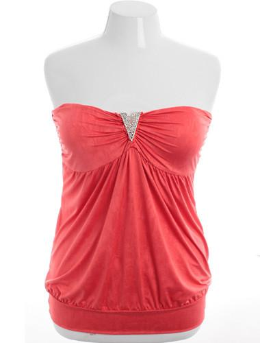 Plus Size Designer Diamond Grapefruit Tube Top