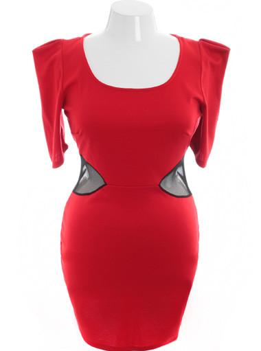 Plus Size Sexy Bold Shoulder Peep Show Red Dress