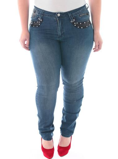 Plus Size Silver Stud Diva Blue Skinny Jeans