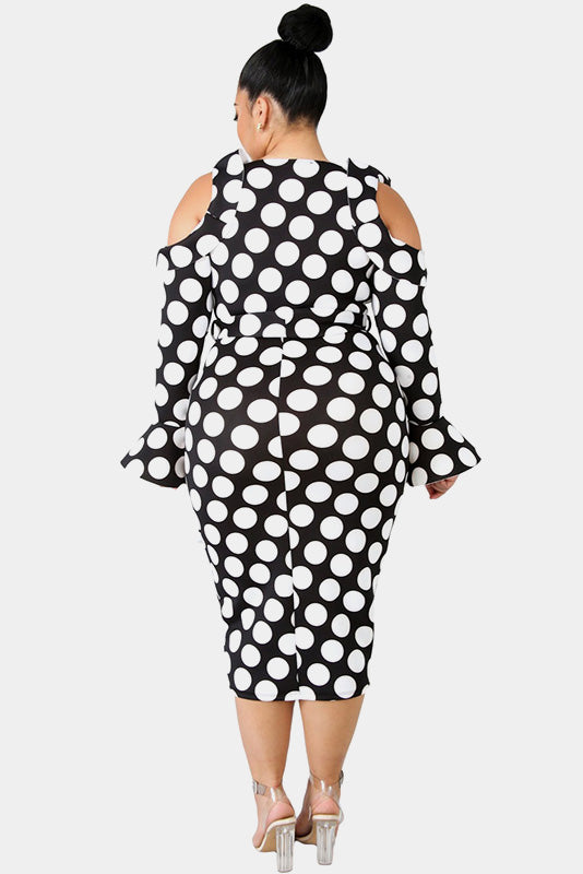 Plus Size Bold Stylish Polka Dot Open Shoulder Dress