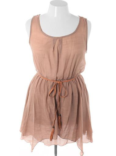 Plus Size Beautiful Vintage Layered Belt Tan Dress