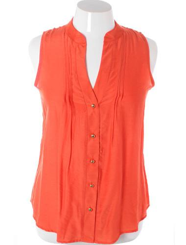 Plus Size Sleeveless Sexy Button Up Orange Top
