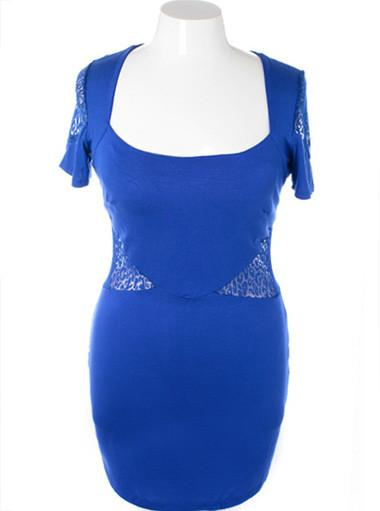 Plus Size Sexy Leopard See Through Blue Dress