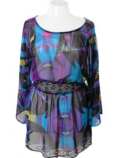 Plus Size Bell Sleeve Designer Flowing Purple Dress