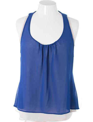 Plus Size Layered Open Back Blue Tank