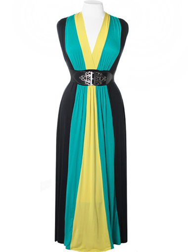 Plus Size Sexy Floor Length Belted Green Dress