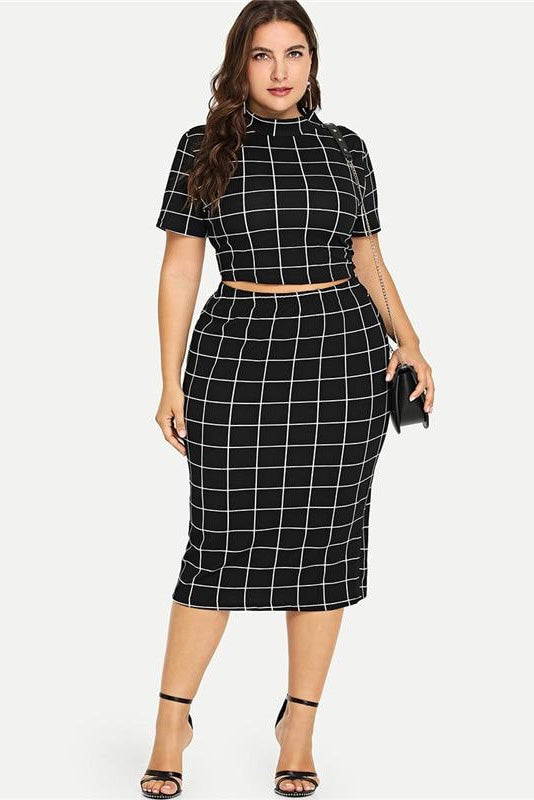 Plus Size Mock Neck Grid Pattern Crop Top Skirt Set