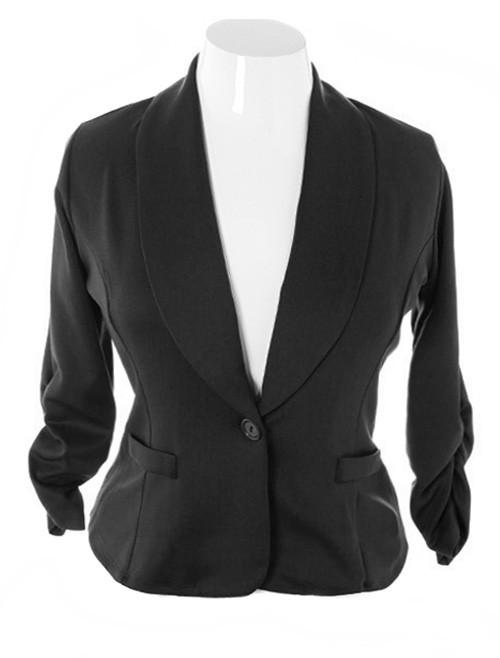 Plus Size Shawl Collar Scrunch Sleeve Black Blazer