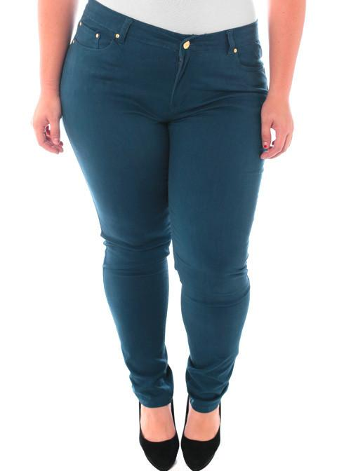 Plus Size Soft Premium Colored Aqua Skinny Jeans