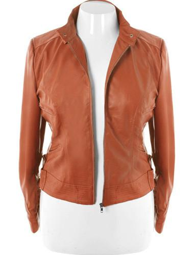 Plus Size Sexy Tan Leather Biker Jacket