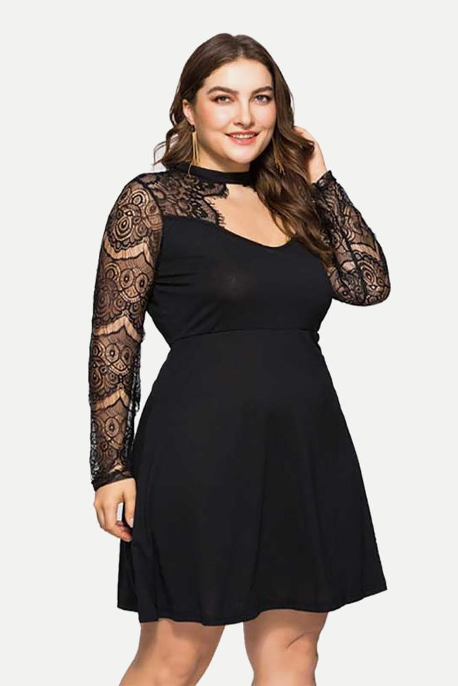 Plus Size See Through Lace Sleeves Choker Dress