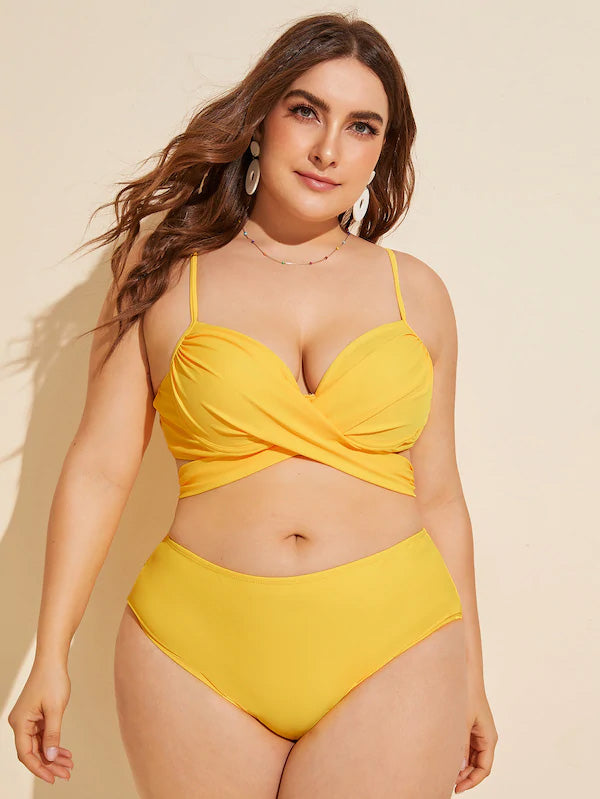 Plus Size Ruched Top With High Waist Bikini Set