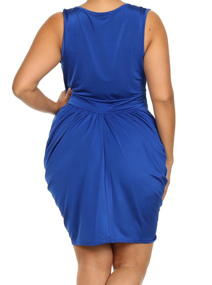 Plus Size V Neck Royal Blue Bubble Dress