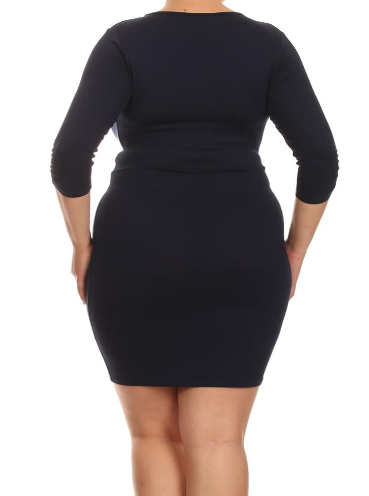 Plus Size Mid Sleeve V Neck Navy Blue Dress
