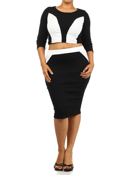 Plus Size Color Block 2 Piece Diva Set
