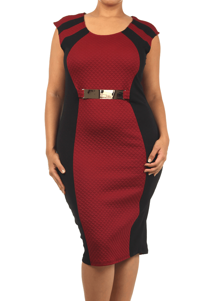 Plus Size Designer Quilted Gold Buckle Midi Dress