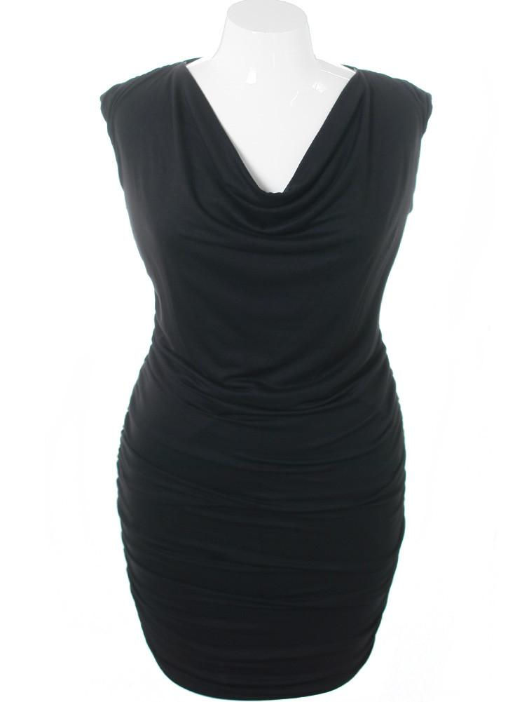 Plus Size Cowl Neck Sleeveless Black Dress