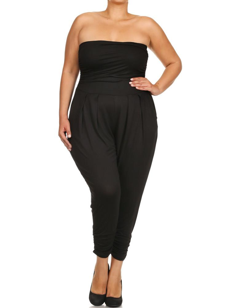 Plus Size Sexy Strapless Black Jumpsuit