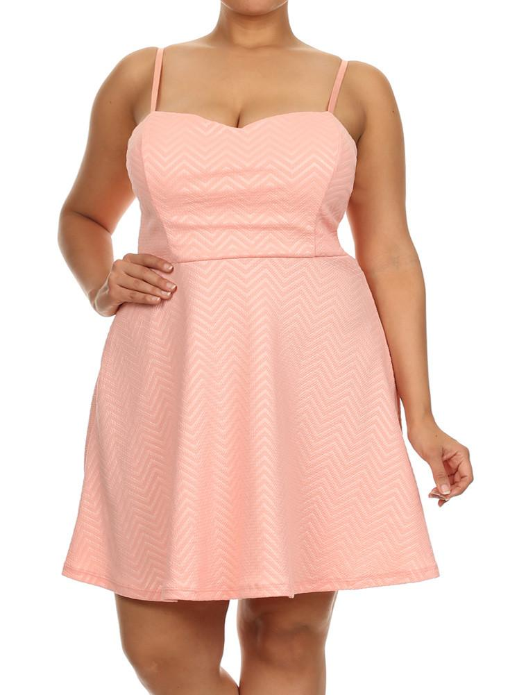 Plus Size Sweet Chevron Print Skater Pink Dress
