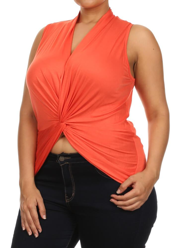 Plus Size Flirty Front Knot Cross Over Orange Top
