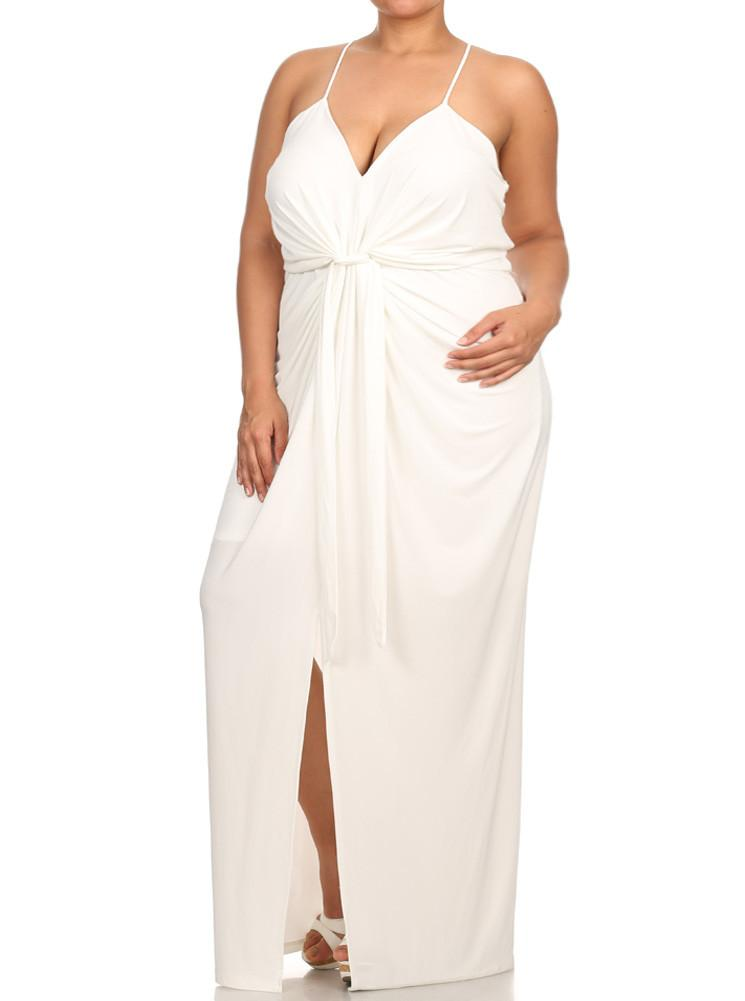 Plus Size Memorable Drapey knot Front White Dress