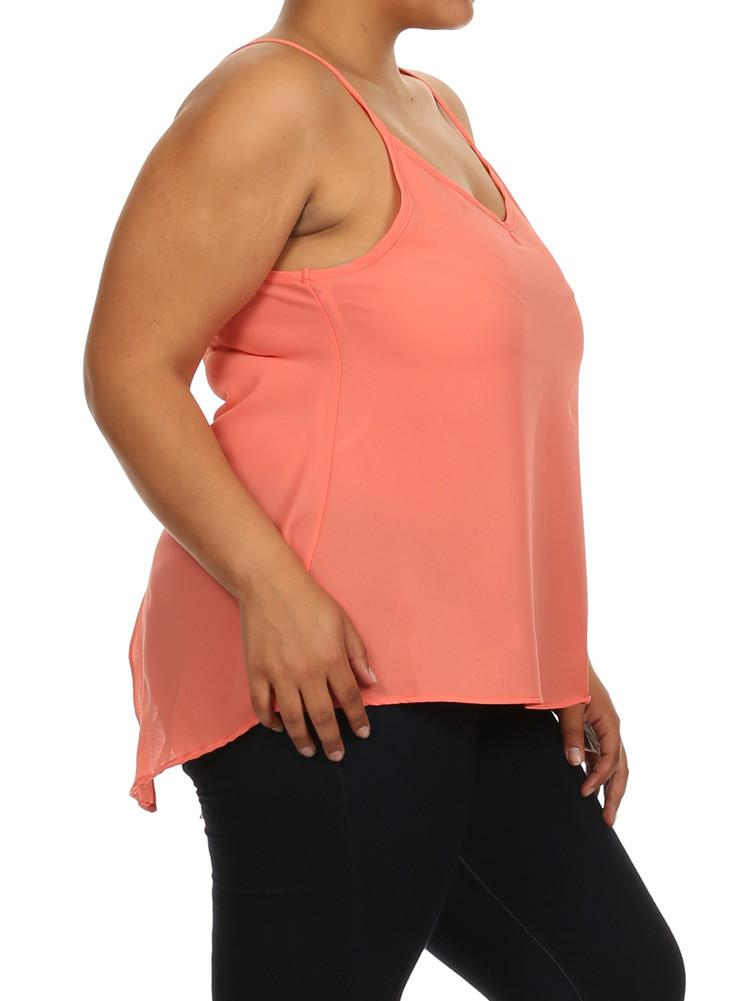 Plus Size Sexy Butterfly Back Peach Sheer Cami