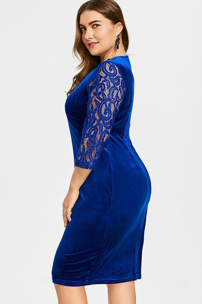 Plus Size Lovely Velvet Lace Sleeve Dress