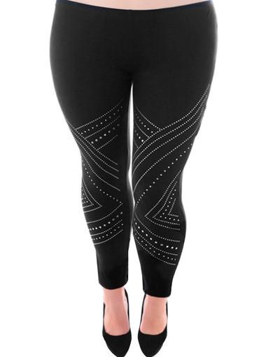 Plus Size Silver Studded Black Leggings