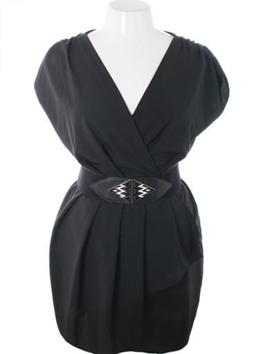 Plus Size Sleeveless Belted Wrap Black Dress