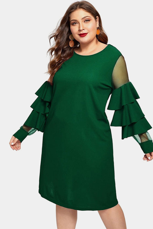 Plus Size Cocktail Ruffle Cascade Sleeve Dress