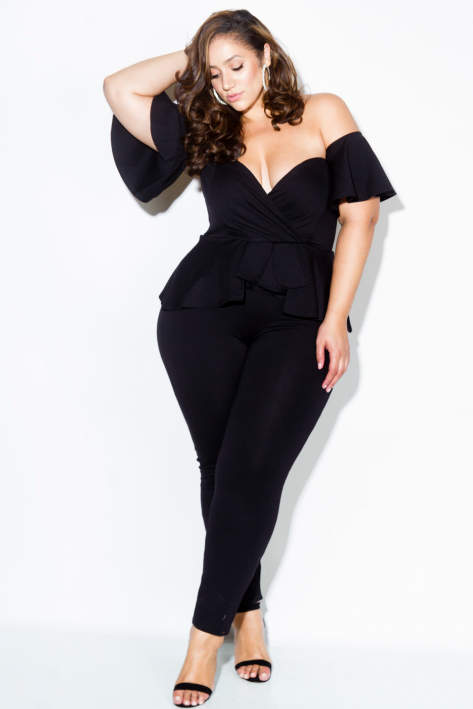 Plus Size Lovable Sweetheart Peplum Jumpsuit
