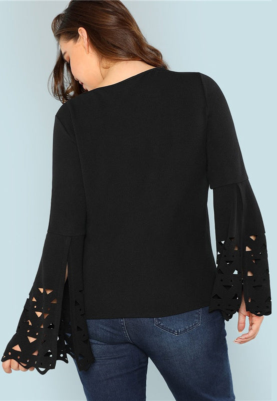 Plus Size Detailed Bell Sleeve Cut Out Cuff Top