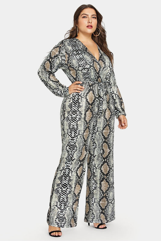 Plus Size Snake Print Goddess Self Tie Jumpsuit