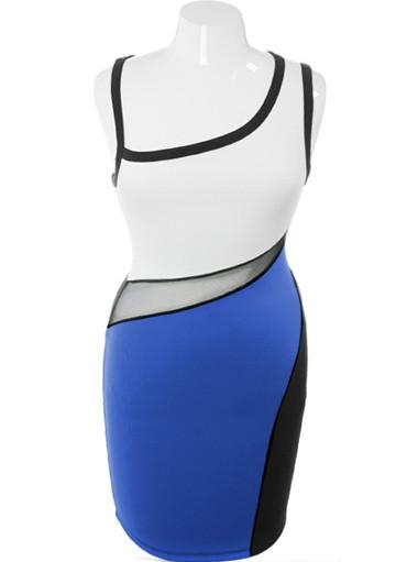 Plus Size Peep Through Colorblock Blue Dress