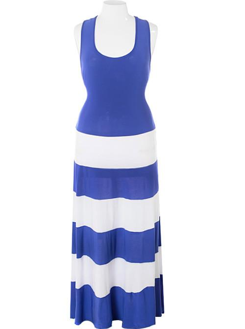 Plus Size Stripe Colorblock Blue Maxi Dress